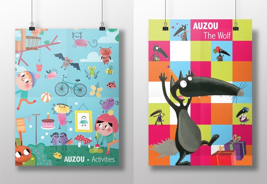 Graphic design of event poster for Francfurt Book Exhibition. Posters shows various categories of Auzou's books.