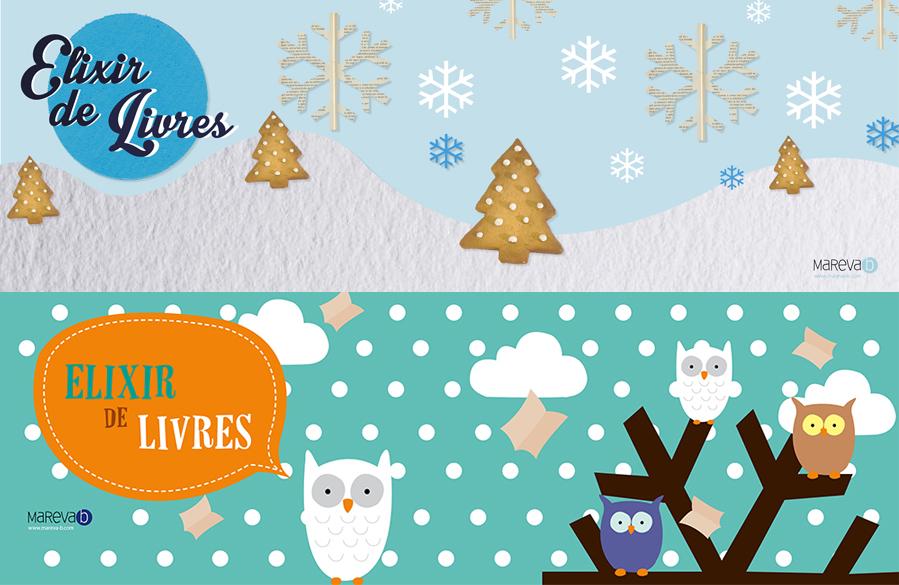 Création graphique de bannières saisonnières pour le blog Elixir de livre