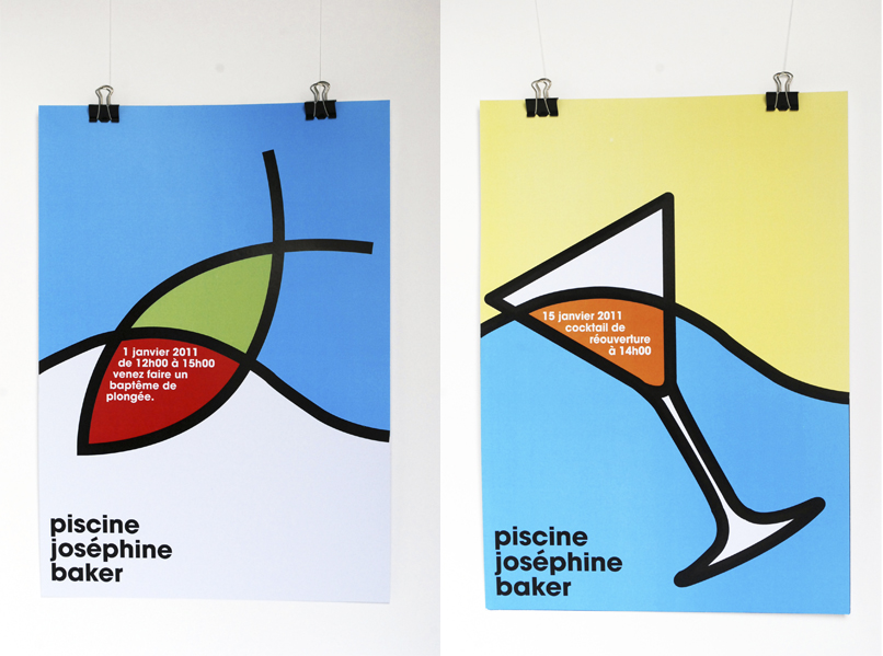 Visual identity of the Josephine Baker swimming pool in Paris. Factual posters in 3 pieces. Concept based on the limit of the surface of water and refraction, colors and forms changes in water.
