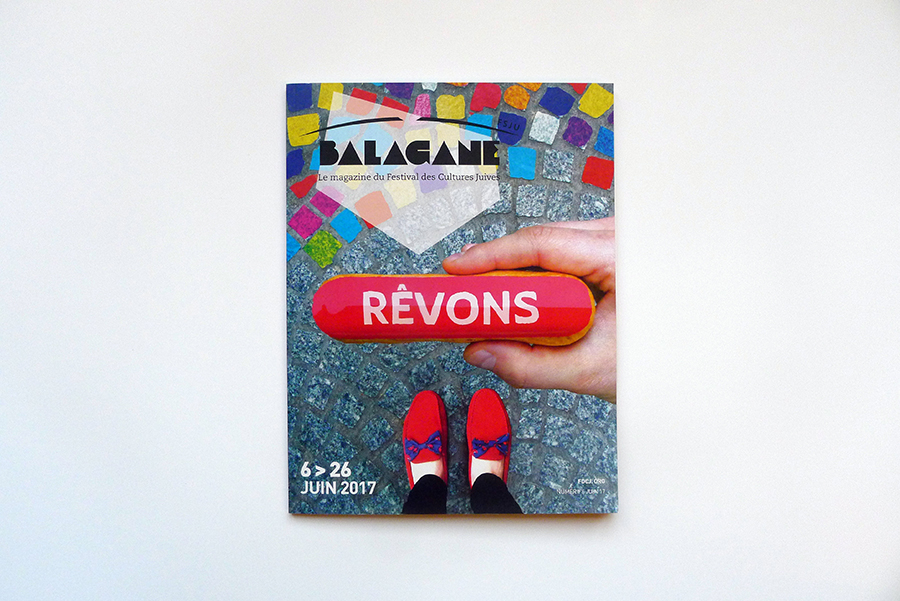 Layout of the Festival des Cultures Juives magazine : Balagane. Graphic chart, colors and typography. Cover : John Tibi (photo : Tal Spiegel)