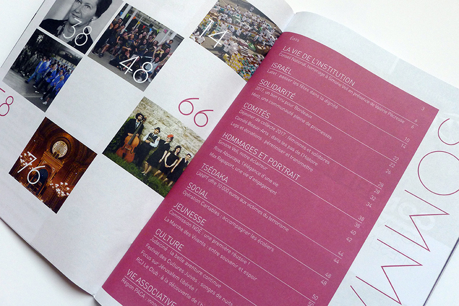 New layout of the FSJU institutional magazine. Graphic chart, colors, typography. Cover : John Tibi